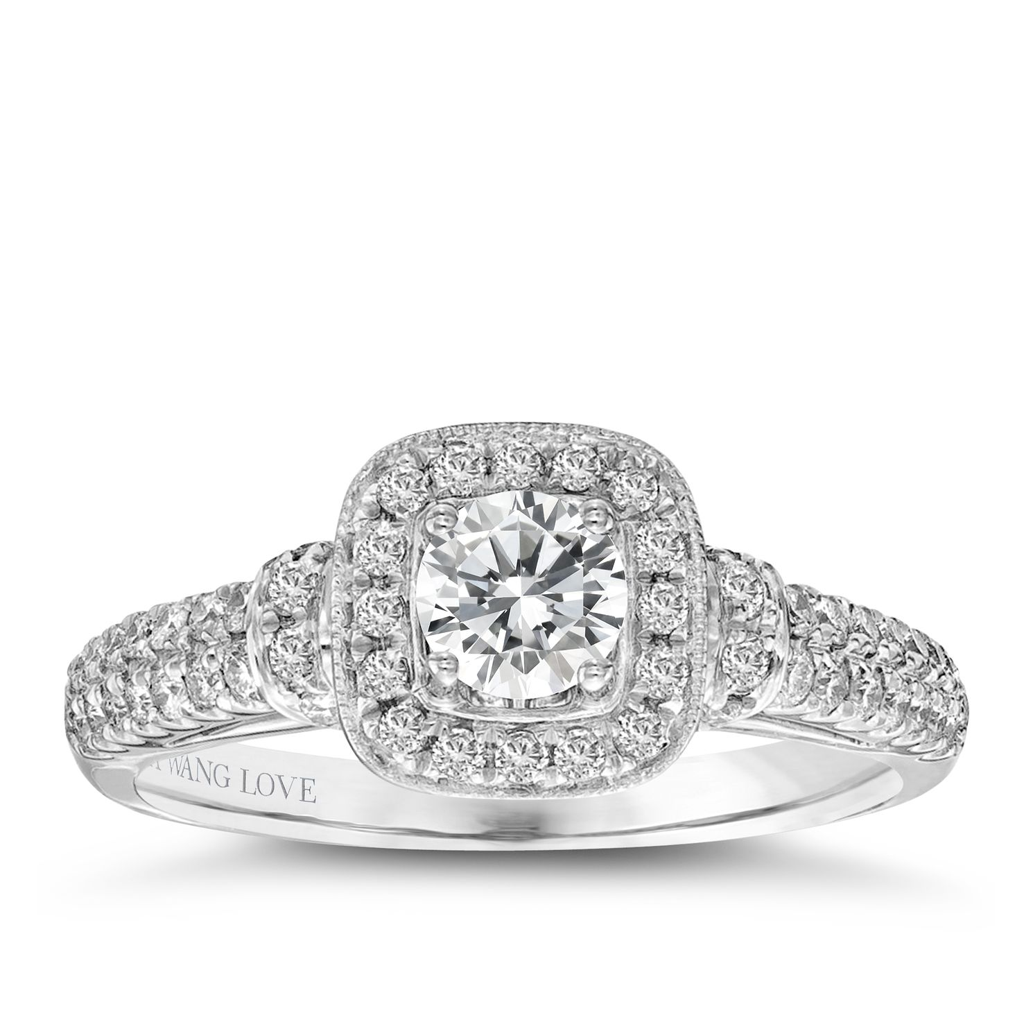 Vera Wang 18ct White Gold 0.70ct Diamond Cushion Halo Ring - Product number 2606917