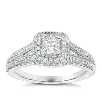 Vera Wang 18ct White Gold 0.70ct Total Diamond Halo Ring - Product number 2607050