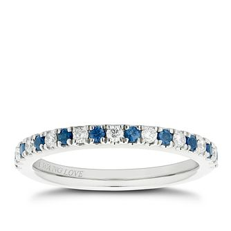 Vera Wang 18ct white gold diamond & sapphire wedding band - Product number 2607573