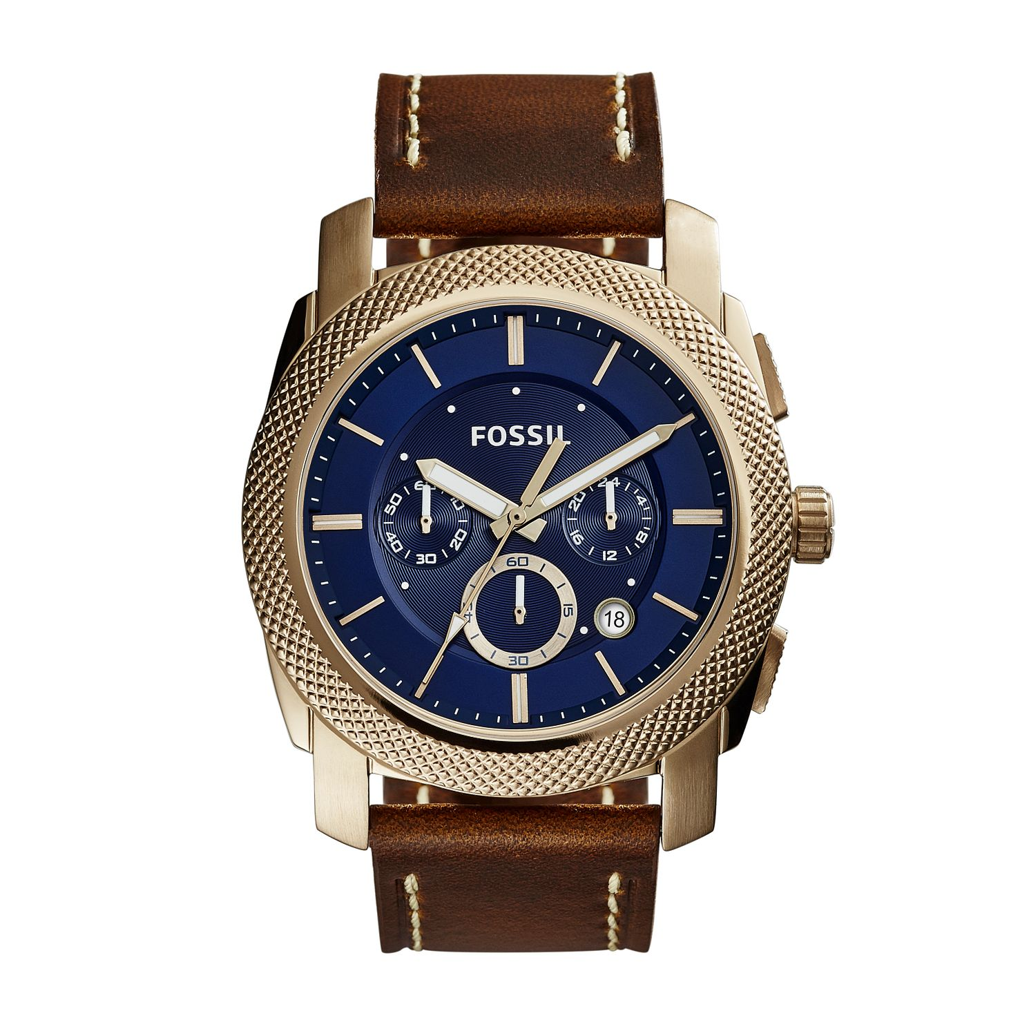 Fossil Machine Chronograph Brown Leather Strap Watch - Product number 2610957