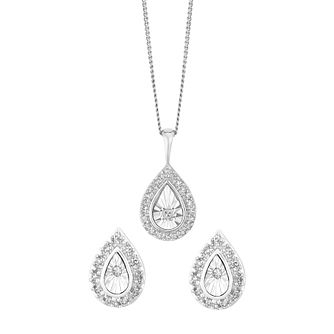 9ct white gold, 0.15CT diamond pendant and earrings set. - Product number 2612879