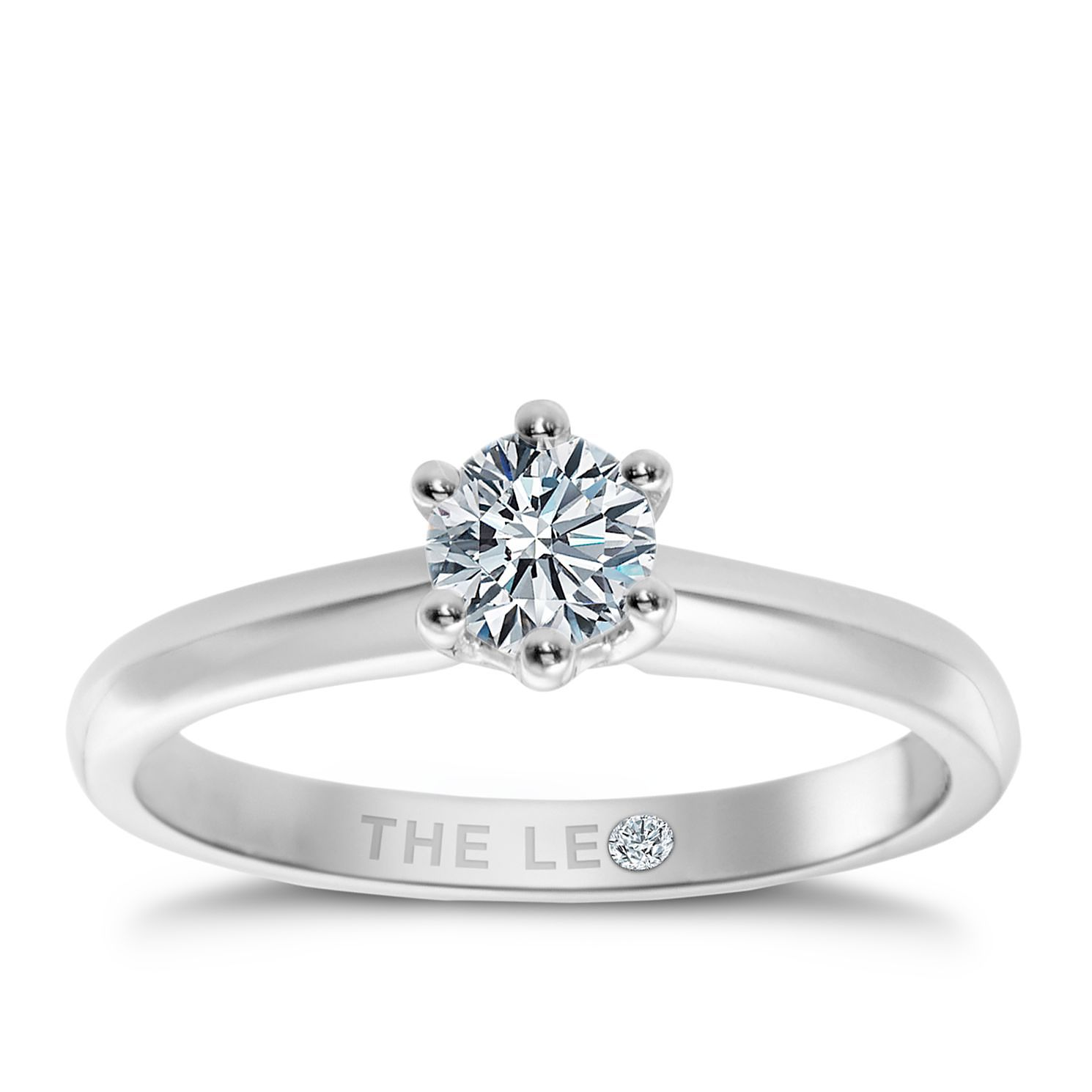 Leo Diamond 18ct White Gold 0.88ct I-I1 Solitaire Ring - Product number 2614421