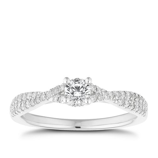 18ct White Gold 2/5ct Diamond Solitaire Crossover Ring - Product number 2620294