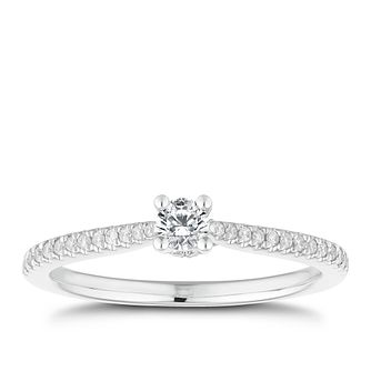18ct White Gold 1/4ct Diamond Solitaire Ring - Product number 2620561