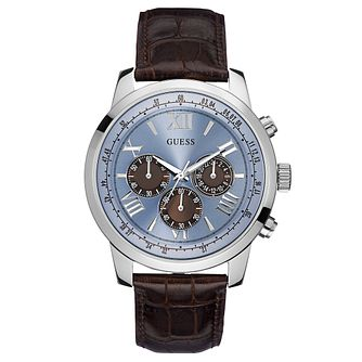 Guess Men's Chronograph Brown Leather Strap Watch - Product number 2621592