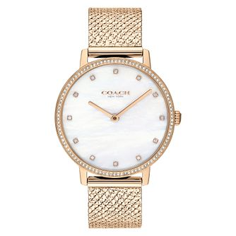 Coach Audrey Ladies' Champagne Gold Ip Mesh Bracelet Watch - Product number 2621797