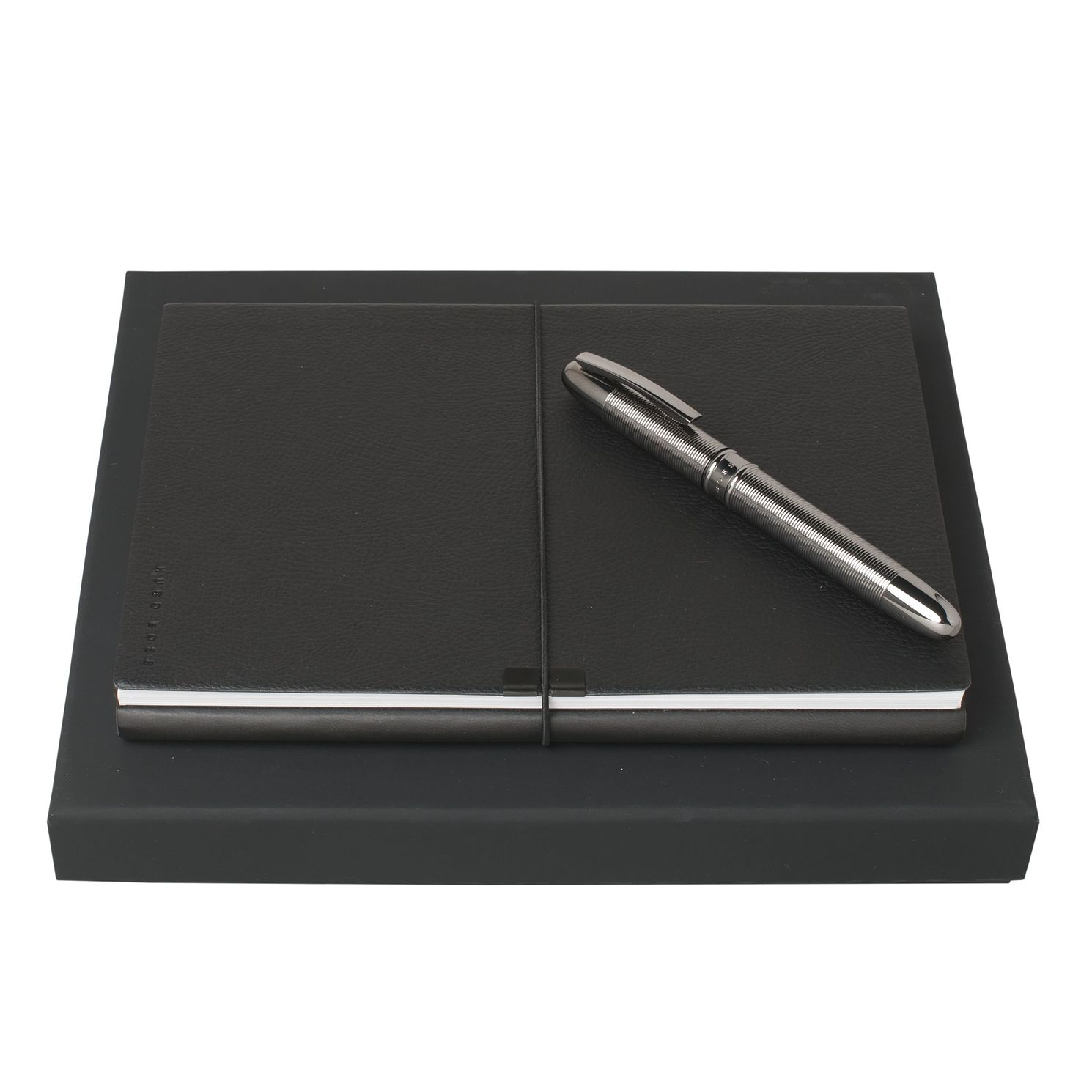 BOSS Dark Chrome Rollerball Pen & A5 Notepad Gift Set - Product number 2622319