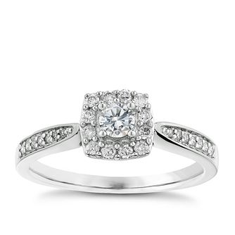 9ct White Gold 1/3ct Halo Diamond Ring - Product number 2624060