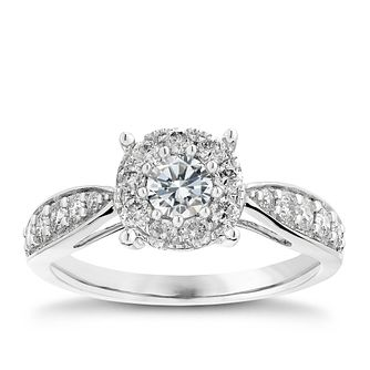 9ct white gold 3/4ct halo diamond ring - Product number 2624788