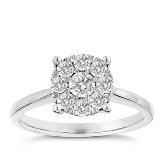 9ct white gold 1/2ct solitaire cluster diamond ring - Product number 2625318