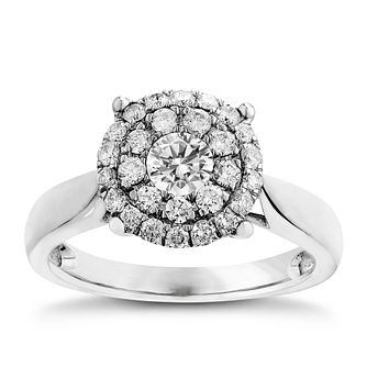 18ct White Gold 3/4ct Diamond Cluster Ring - Product number 2625830