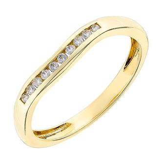 9ct yellow gold 0.10CT diamond channel set ring - Product number 2625970