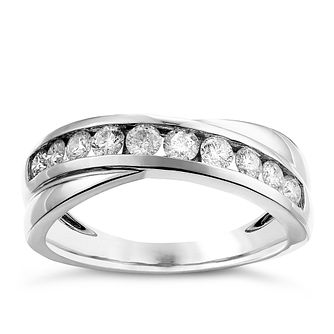 9ct white gold 1/2ct crossover diamond ring - Product number 2627043