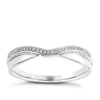 9ct white gold, diamond and polished shaped wedding ring - Product number 2628376