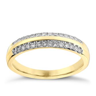 9ct yellow gold, 0.25CT diamond wedding ring - Product number 2628503