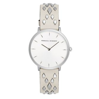 Rebecca Minkoff Major Ladies' Cream Studded Strap Watch - Product number 2632950