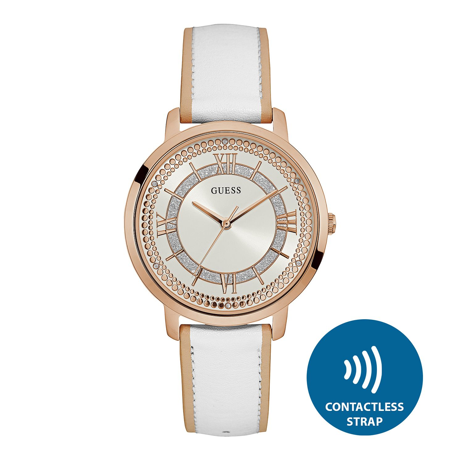 Guess Ladies' Contactless White Strap Watch - T&Cs apply - Product number 2633922