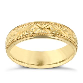 9ct Yellow Gold 5mm Crossover Patterned Wedding Ring - Product number 2638428