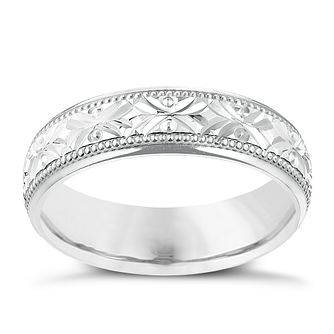 9ct White Gold 5mm Crossover Patterned Wedding Ring - Product number 2638541