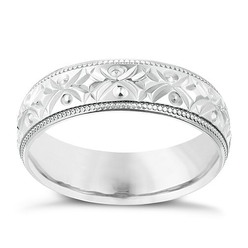 9ct White Gold 6mm Crossover Patterned Wedding Ring - Product number 2640120