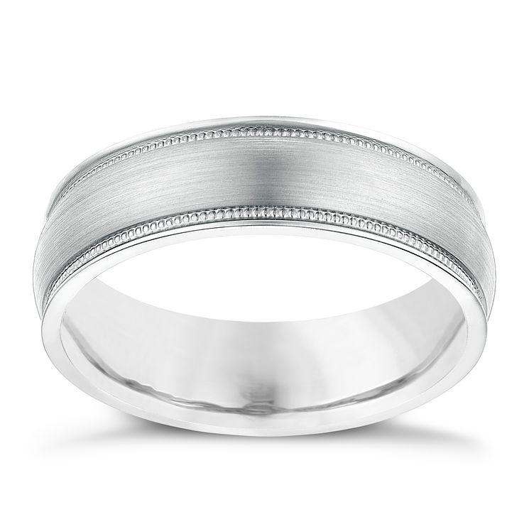 Palladium 500 Polished Milgrain Detail 6mm Wedding Ring