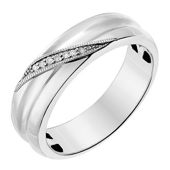 Palladium 950 5mm Diagonal Diamond Set Wedding Ring - Product number 2643510