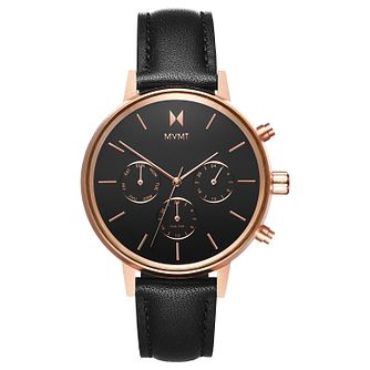 MVMT Nova Ladies' Black Leather Strap Watch - Product number 2643936