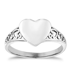 9ct White Gold Heart Shaped Signet Ring - Product number 2643944