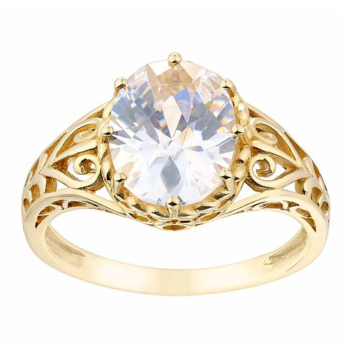 9ct Yellow Gold & Oval Cubic Zirconia Cut Away Detail Ring - Product number 2644967