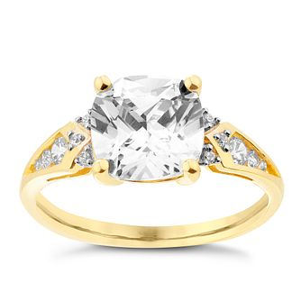 9ct Yellow Gold Cushion Cut Cubic Zirconia Ring - Product number 2645106