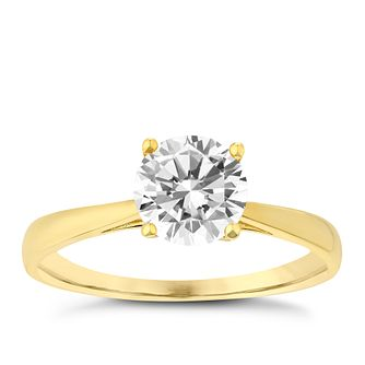 9ct Yellow Gold 6.5mm Cubic Zirconia Solitaire Ring - Product number 2645521