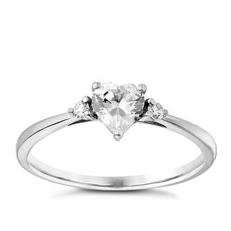 9ct White Gold Heart Shaped Cubic Zirconia Ring - Product number 2645815