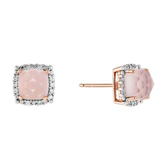 9ct Rose Gold Rose Quartz & Cubic Zirconia Stud Earrings - Product number 2646714