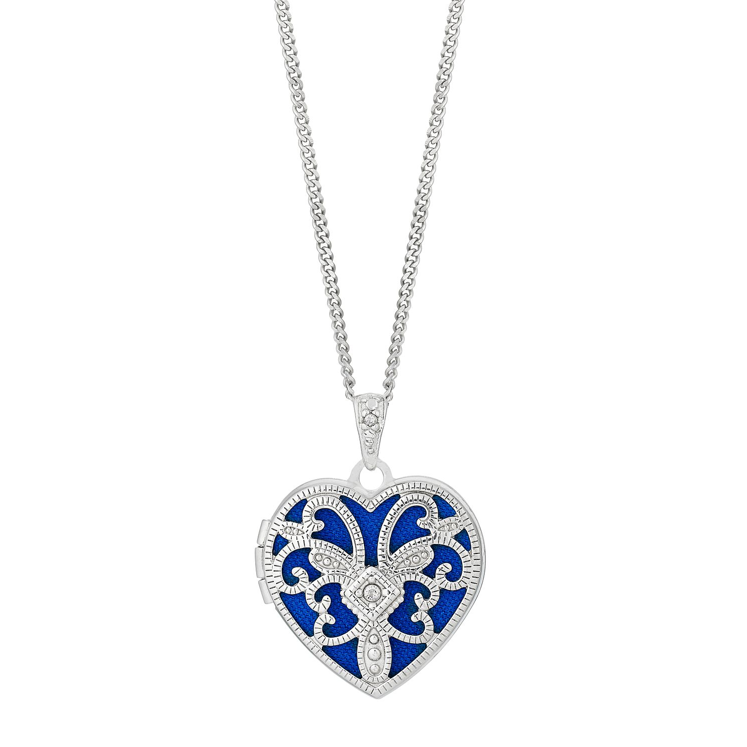 Rhodium Plated Sterling Silver Cubic Zirconia Heart Locket - Product number 2647036
