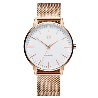 MVMT Boulevard Ladies' Rose Gold Plated Mesh Bracelet Watch - Product number 2647087