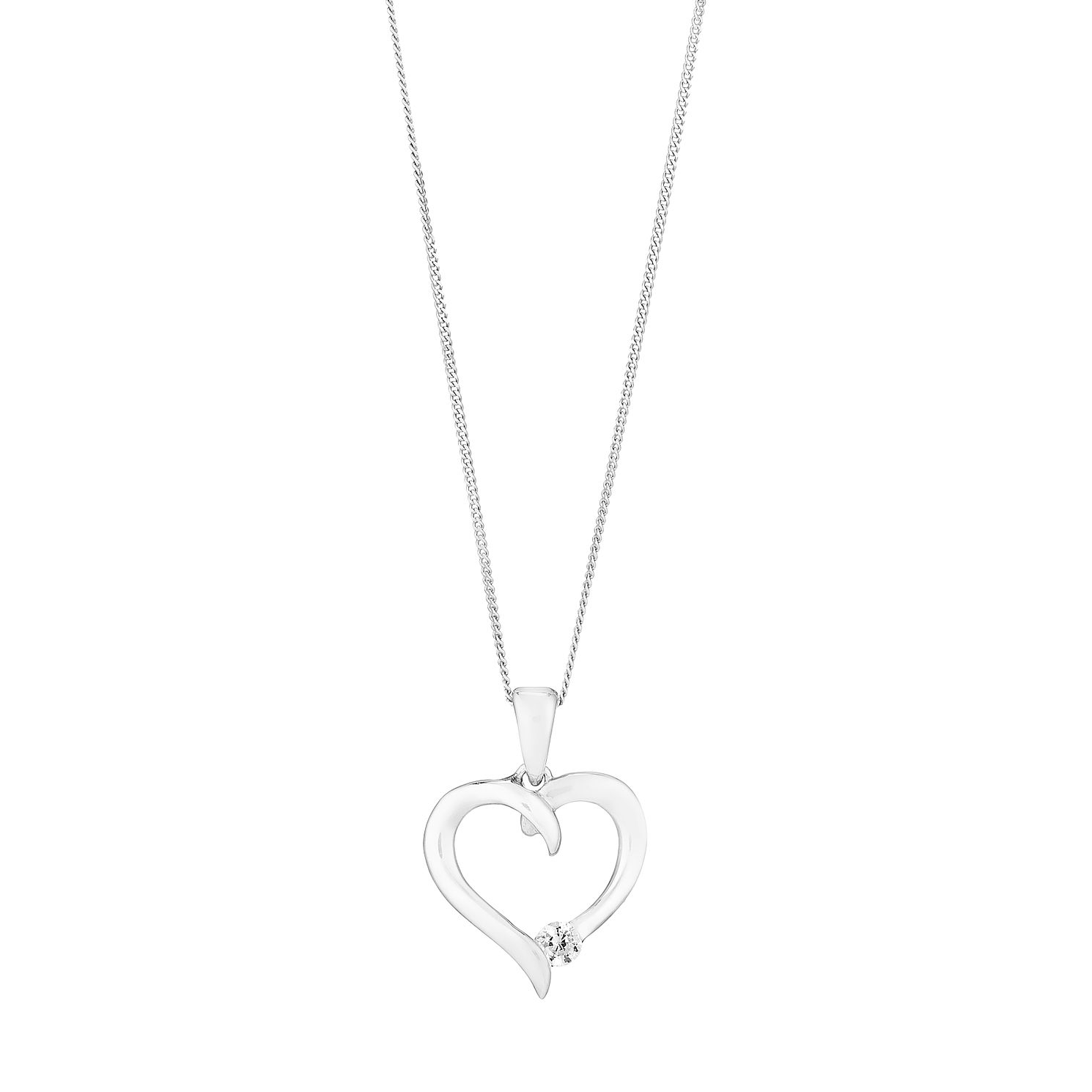9ct White Gold & Cubic Zirconia 18 inches Heart Pendant - Product number 2647117