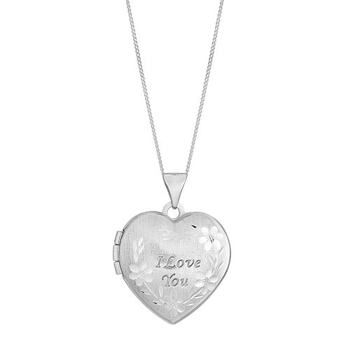 9ct White Gold I Love You Floral Heart Shaped Locket - Product number 2647125