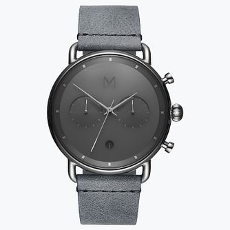 MVMT Blacktop Men's Grey Leather Strap Watch - Product number 2647214