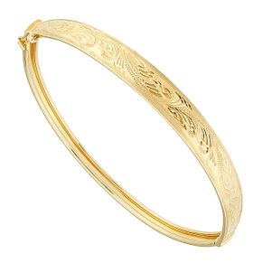 9ct Yellow Gold Swirl Engraved Hinged Bangle - Product number 2647664