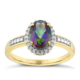 9ct Yellow Gold Mystic Topaz & Cubic Zirconia Oval Ring - Product number 2648237