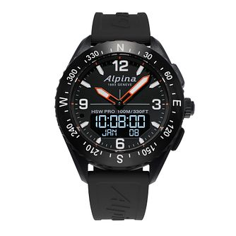 Alpina Alpinerx Men's Black Rubber Strap Watch - Product number 2648733