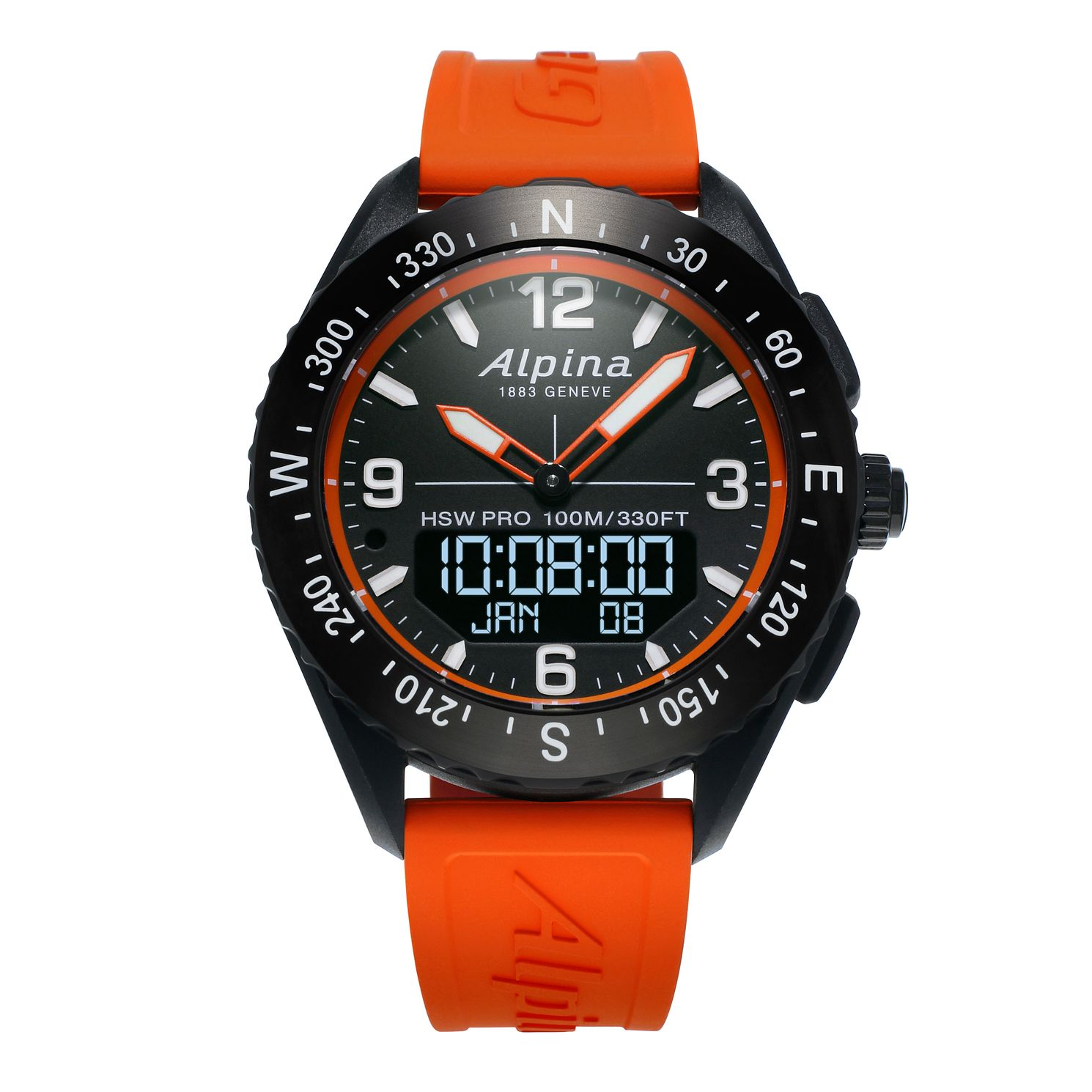 Alpina Alpinerx Men's Orange Rubber Strap Watch - Product number 2648741