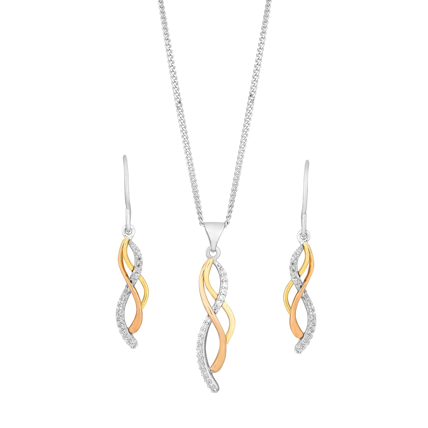 Silver & Gold Cubic Zirconia Twist Earring & Pendant Set - Product number 2648768