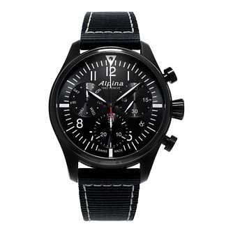 Alpina Startimer Pilot Men's Black Fabric Strap Watch - Product number 2649349