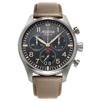 Alpina Startimer Pilot Men's Grey Leather Strap Watch - Product number 2649365