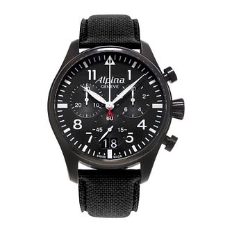 Alpina Startimer Pilot Men's Black Leather Strap Watch - Product number 2649373