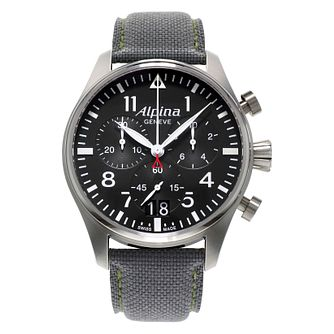Alpina Startimer Pilot Men's Grey Leather Strap Watch - Product number 2649381