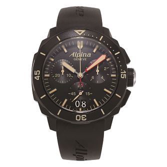 Alpina Seastrong Diver 300 Men's Black Rubber Strap Watch - Product number 2649411