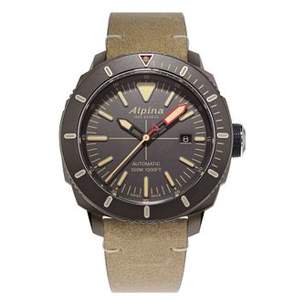 Alpina Seastrong Diver 300 Men's Brown Leather Strap Watch - Product number 2734370
