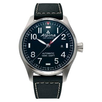 Alpina Startimer Pilot Automatic Black Leather Strap Watch - Product number 2734427